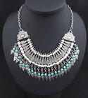 Women Blogger Sliver Bead statement necklace Chunky Choker Bib Pendant Chain New