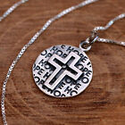 "925 Sterling Silver Round Pendant Necklace with Embossed Cross Textured ""HOPE"""