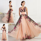CLEARANCE Vintage Floral Print Style Chiffon Bridesmaid Evening Gown Prom Dress