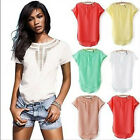 1Pc Women Casual Chiffon Blouse Short Sleeve Shirt T-shirt Summer Blouse Tops
