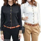 Women Sexy Cotton Long Sleeve Office Lady OL Business Leopard Shirt Top Blouse