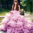 Strapless Train Wedding Dresses Quinceanera Formal Prom Party Pageant Ball Gown