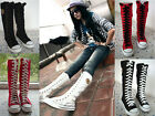 Punk Rock Gothic zip Lace up Canvas boot shoe sneaker knee high All-match Best