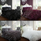 CAN CAN FRILLED FLAMENCO DRESS QUILT DUVET COVER BEDDING SET BLACK WHITE SILVER