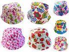 Kids Girls Summer Bucket Sun Hat Age 5 6 7 8 Strawberry Flower Heart Pink Purple