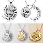 I Love You To The Moon And Back Family Mom Birthday Pendant Necklace Silver&Gold