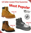 "Free $3.99 Socks Men's 6"" Work Boots Shoes With Steel Toe Leather A6011st 8605st"