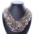 Vintage Luxury Pearl Jewelry Chunky Statement Bib Pendant Chain Choker Necklace