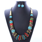 Fashion Women Ethnic Ancient Bronze Turquoise Statement Bib Necklace Earrings