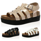 LADIES FLATFORM WOMENS BEACH BUCKLE STRAP GLADIATOR SANDALS SLIDERS SIZE 3-8