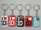 1x I Love One Direction 1D silicone dog tag 4colors pendant key chain ring