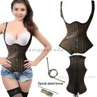 New Women Gothic Steel Boned Underbust SteamPunk Corset Waist Training Top Brown