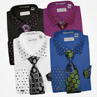 Solid Body Polka Dot Collar & Cuffs Dress Shirt Set Black, Blue, Plum, White