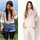 Women Long Sleeve Turn-down Collar Top Floral Print Chiffon Blouse Shirt New