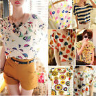 Womens Chiffon Floral Batwing Short Sleeve Casual Blouse T-shirt Tops Tee S-xxl