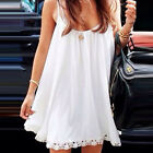 White Women Sleeveless Lace Bodycon Cocktail Party Short Mini Dress Vogue