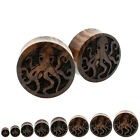 Pair Organic Sono Wood Octopus Sea Life Tentacle Ocean Plugs Double Saddle Flare