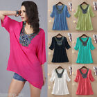 Fashion Women's Ladies Embroidery Short Sleeve Tee Shirt Casual Loose Blouse New