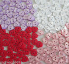10 or 20 PEARLISED HEART SHAPED BUTTONS - TWO HOLE VARIOUS COLOURS SIZES pearl