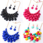 Women Water Drop Style Bib Chunky Statement Multilayer Necklace Perfect Cheap