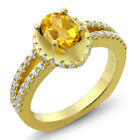 1.11 Ct Oval Natural Yellow Citrine 925 Yellow Gold Plated Silver Ring