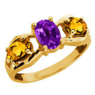 1.55 Ct Oval Purple Amethyst and Citrine Gold Plated Sterling Silver Ring