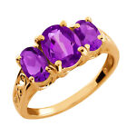 2.45 Ct Oval Purple Amethyst Gemstone Gold Plated Sterling Silver Ring