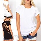 Casual Women Crew Collar Angel Wings Hollow Back Short Sleeve Cotton T Shirt Tee
