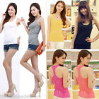 New Women Lace Floral T Back Tank Top Sleeveless Cami Vest Backless T-shirt Top