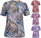 Womens New Plus Size Peacock Feather Print Ladies Short Sleeve T-Shirt Dress Top