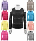 LADIES WOMENS KNITTED SHOULDER CUT OUT LONG SLEEVES HOLEY KNIT JUMPER TOP 8-14