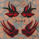 AUFNÄHER PATCH Punk schwalbe swallow Schwarz Rot Rockabilly red black pin up