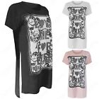LADIES WOMEN SIDE SPLIT SLIT LOVE FOREVER PRINT TOPS LOOSE T SHIRT LONG HILO HEM