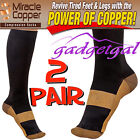 2 Pair COPPER Miracle Socks Compression for Aching Feet, Flight, Travel