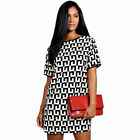 New Summer Women Casual Dress Short Sleeves Mini Print Party Dresses Vogue