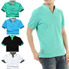 Mens Stand-Collar T-shirts fads Solid Color Short Sleeve Casual Shirt