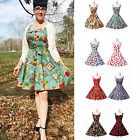 Housewife Vintage Skirt Style 1950s 60sSwing Floral Party Pinup Dress