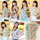 Women's Loose Chiffon Tops Batwing Short Sleeve Printed T Shirt Casual Blouse