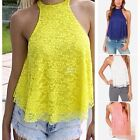 Women Summer Sexy Casual Sleeveless Lace Halter Vest Shirt Loose Tops Blouse New