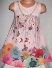 GIRLS PINK GARDEN FLOWER BUTTERFLY PRINT CHIFFON PARTY DRESS with NECKLACE
