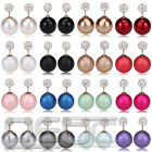 Lackingone 1 Pair Charm Double Sided Crystal Pearl Beads Earrings Ear Studs #12G