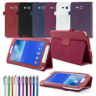 For Samsung Galaxy Tab 3 Lite 7.0 T110 T111 PU Leather Smart Case Cover+Guard