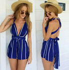 Fashion Women Sexy jumpsuit High Waist V-Neck backless Playsuit Shorts Rompers