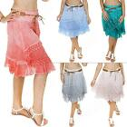 New Womens Ladies Lagenlook Lace Layered Italian Linen Midi skirt Size 12 14 16