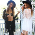 Sexy Women Perspective Lace Blouse Lace Kimono Cardigan Shirt Blouse Tassels Top