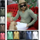 ByTheR Men's Fashion Urban Basic Single V Neck Long Sleeve T-shirt P000BSEA
