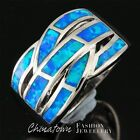 Ocean Blue Fire Opal Inlay Silver Jewelry Twist Wide Bypass Ring Size 7 8 9 10