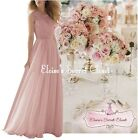 BNWT APRIL Dusky Pink Lace Chiffon Maxi Bridesmaid Ballgown Dress Sizes UK 6 -18