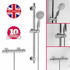 MODERN CHROME ROUND THERMOSTATIC VALVE HANDSET SLIDER RAIL KIT SHOWER MIXER