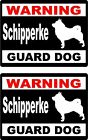2 Warning Schipperke Guard dog car windows bumper vinyl decals stickers
